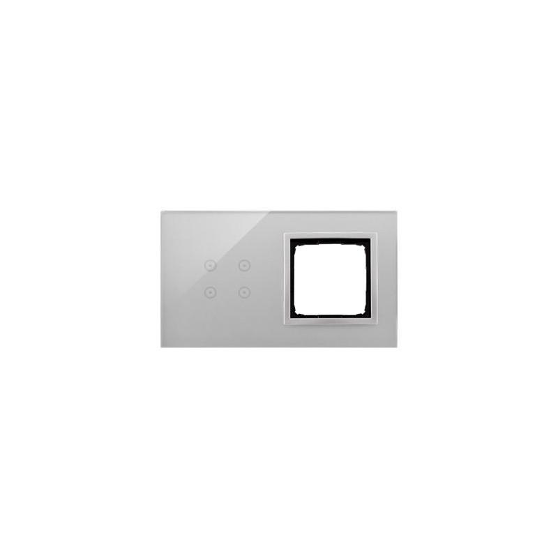 Panele-dotykowe - panel dotykowy 4 pola dotykowe+1 otwór na osprzęt srebrna mgła dstr240/71 simon 54 touch kontakt-simon firmy Kontakt-Simon