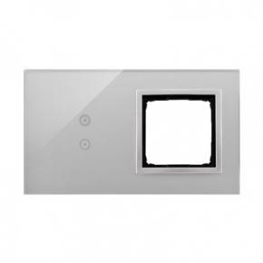 Panele-dotykowe - panel dotykowy 2 pola dotykowe pionowe otwór na osprzęt srebrna mgła dstr230/71 simon 54 touch kontakt-simon