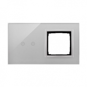 Panel dotykowy 2 moduły 2 pola dotykowe+otwór na osprzęt srebrna mgła DSTR220/71 Simon 54 Touch Kontakt-Simon