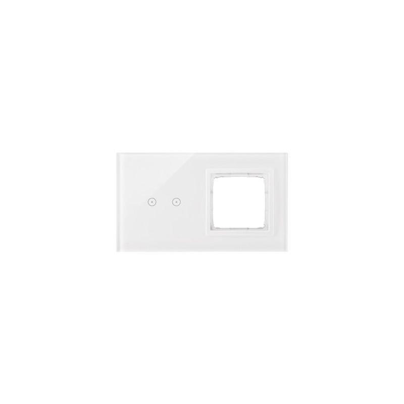 Panele-dotykowe - panel dotykowy 2 moduły 2 pola dotykowe+otwór na osprzęt biała perła simon 54 touch kontakt-simon firmy Kontakt-Simon