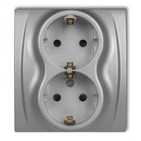 Gniazda-podwojne-podtynkowe - gniazdko elektryczne podwójne czeskie srebrny metalik 7lgp-2zu logo karlik