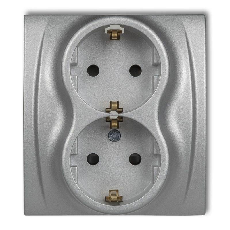 Gniazda-podwojne-podtynkowe - gniazdko elektryczne podwójne czeskie srebrny metalik 7lgp-2zu logo karlik firmy Karlik
