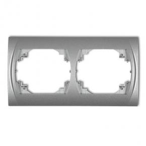 Ramka podwójna pozioma srebrny metalik 7LRH-2 LOGO KARLIK