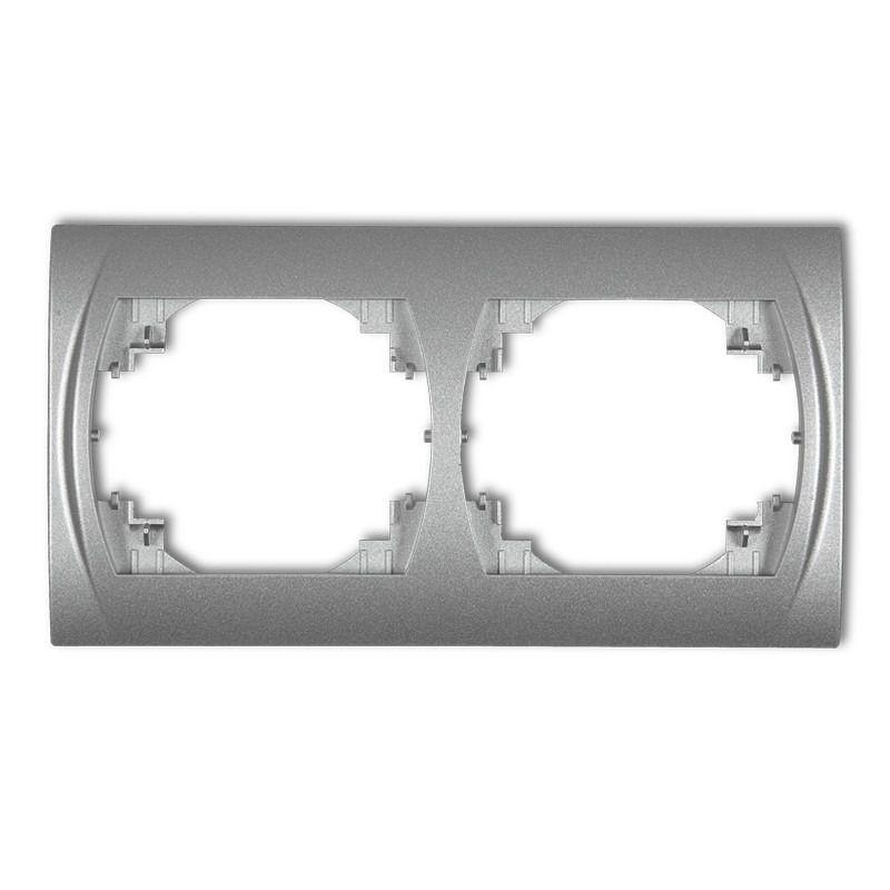 Ramki-podwojne - ramka podwójna pozioma srebrny metalik 7lrh-2 logo karlik firmy Karlik