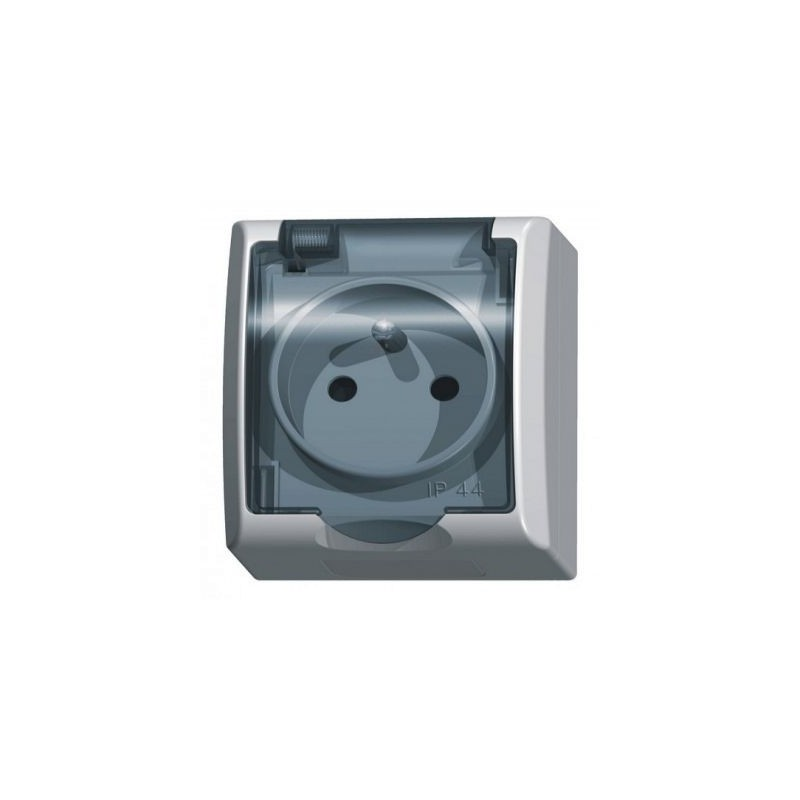 Gniazda-pojedyncze-natynkowe - gniazdo pojedyncze natynkowe z uziemieniem z klapką dymną białe gnh-1hz/00/d fala ospel firmy OSPEL
