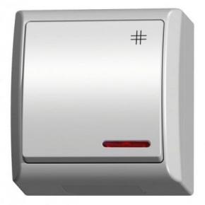 Włącznik krzyżowy natynkowy z podświetleniem biały ŁNH-4HS/00 FALA OSPEL