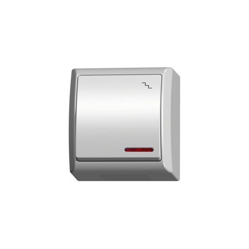 Wylaczniki-schodowe - włącznik schodowy natynkowy z podświetleniem biały ip44 łnh-3hs/00 fala ospel firmy OSPEL