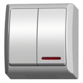Wyłącznik świecznikowy natynkowy z podświetleniem biały ŁNH-2HS/00 FALA OSPEL
