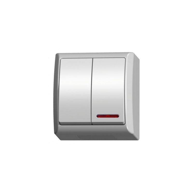 Wylaczniki-podwojne - wyłącznik świecznikowy natynkowy z podświetleniem biały łnh-2hs/00 fala ospel firmy OSPEL