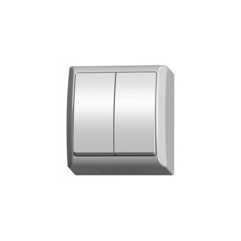 Wylaczniki-podwojne - włącznik światła natynkowy podwójny łnh-2h/00 fala ospel firmy OSPEL