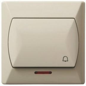 Wlaczniki-i-przyciski-dzwonkowe - włącznik zwierny dzwonek z podświetleniem beżowy łp-6as/01 akcent ospel