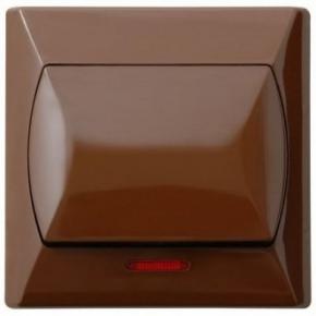 Włącznik zwierny dzwonek brązowy z podświetleniem ŁP-6AS/24 AKCENT OSPEL