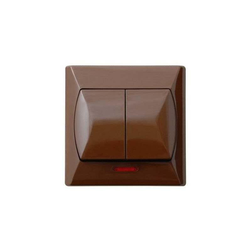 Wylaczniki-podwojne - wyłącznik podwójny z podświetleniem brązowy łp-2as/24 akcent ospel firmy OSPEL