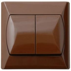 Wylaczniki-schodowe - włącznik schodowy podwójny brązowy z podświetleniem pomarańczowym łp-10as/24 akcent ospel