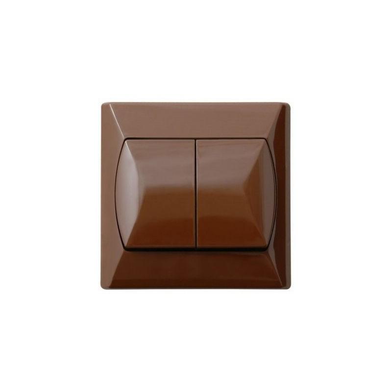 Wylaczniki-schodowe - włącznik schodowy podwójny brązowy z podświetleniem pomarańczowym łp-10as/24 akcent ospel firmy OSPEL