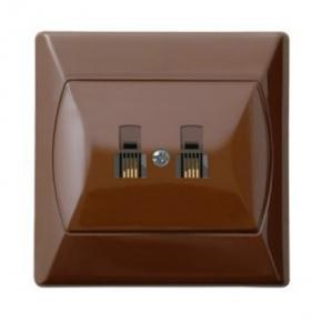Gniazda-telefoniczne - gniazdo telefoniczne rj11 podwójne brązowe gpt-2an/24 akcent ospel