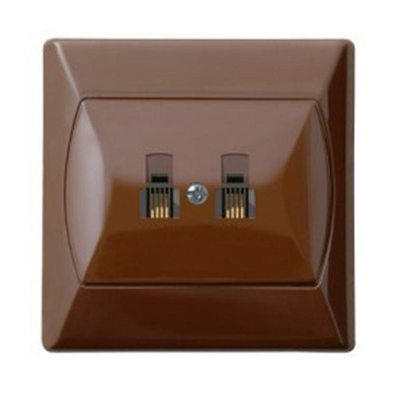 Gniazda-telefoniczne - gniazdo telefoniczne rj11 podwójne brązowe gpt-2an/24 akcent ospel firmy OSPEL