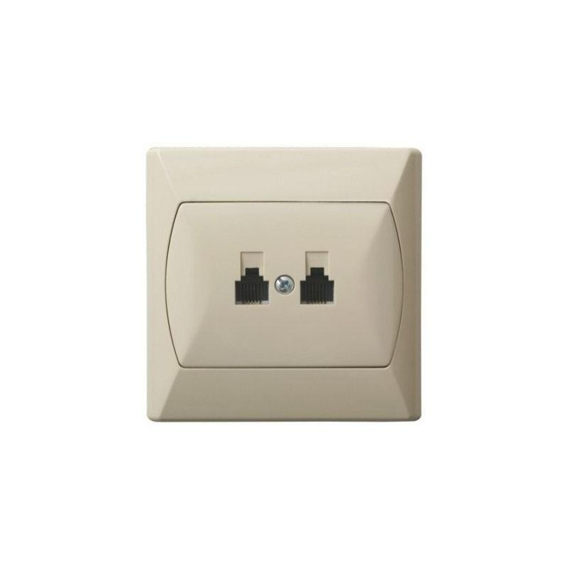 Gniazda-telefoniczne - gniazdo telefoniczne rj11 podwójne beżowe gpt-2an/01 akcent ospel firmy OSPEL
