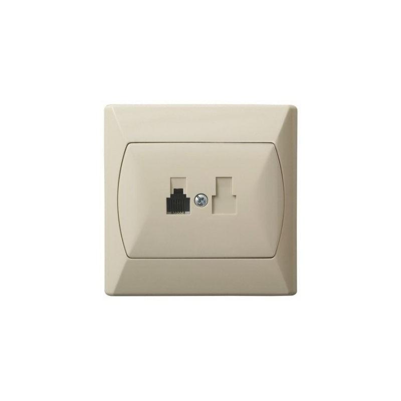 Gniazda-telefoniczne - gniazdo telefoniczne rj11 pojedyncze beżowe gpt-1a/01 akcent ospel firmy OSPEL