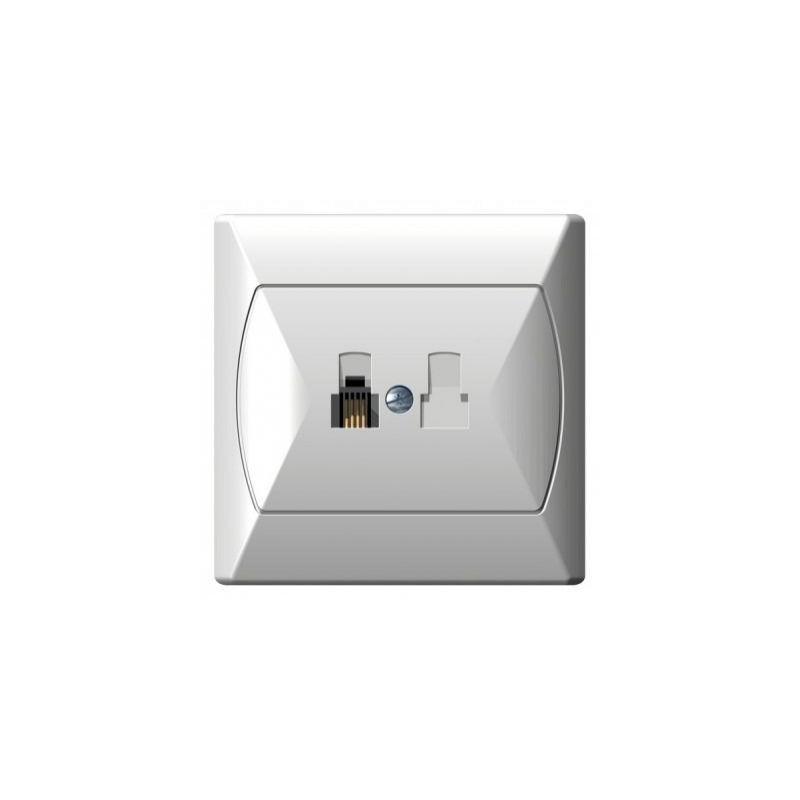 Gniazda-telefoniczne - gniazdo telefoniczne rj11 pojedyncze białe gpt-1a/00 akcent ospel firmy OSPEL