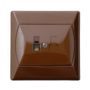 Gniazda-telefoniczne - gniazdo telefoniczne rj11 pojedyncze brązowe gpt-1a/24 akcent ospel