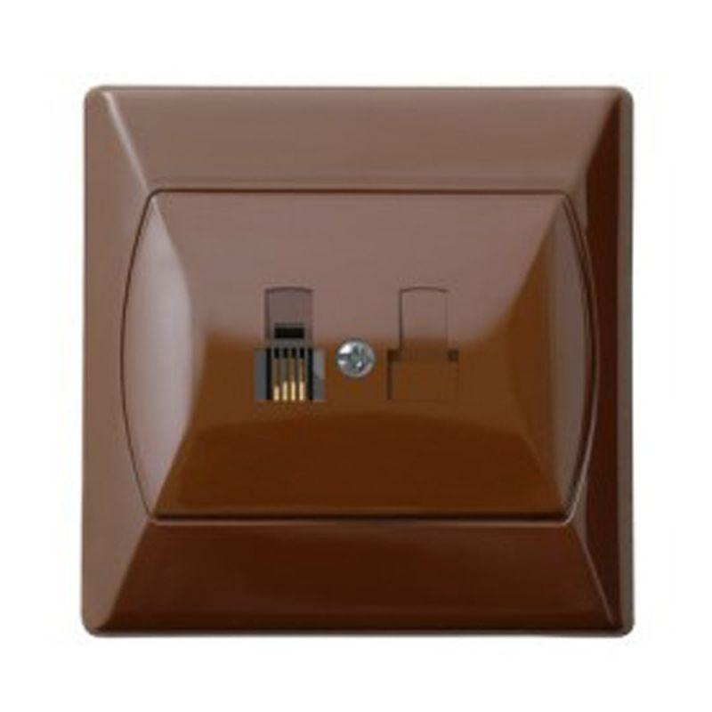 Gniazda-telefoniczne - gniazdo telefoniczne rj11 pojedyncze brązowe gpt-1a/24 akcent ospel firmy OSPEL