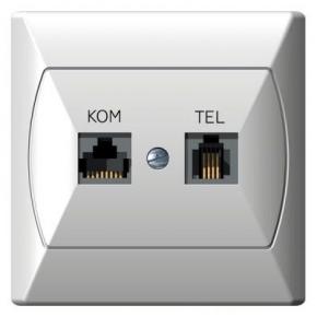 Gniazdo komputerowe RJ45 i telefoniczne RJ11 białe GPKT-A/K/00 AKCENT OSPEL