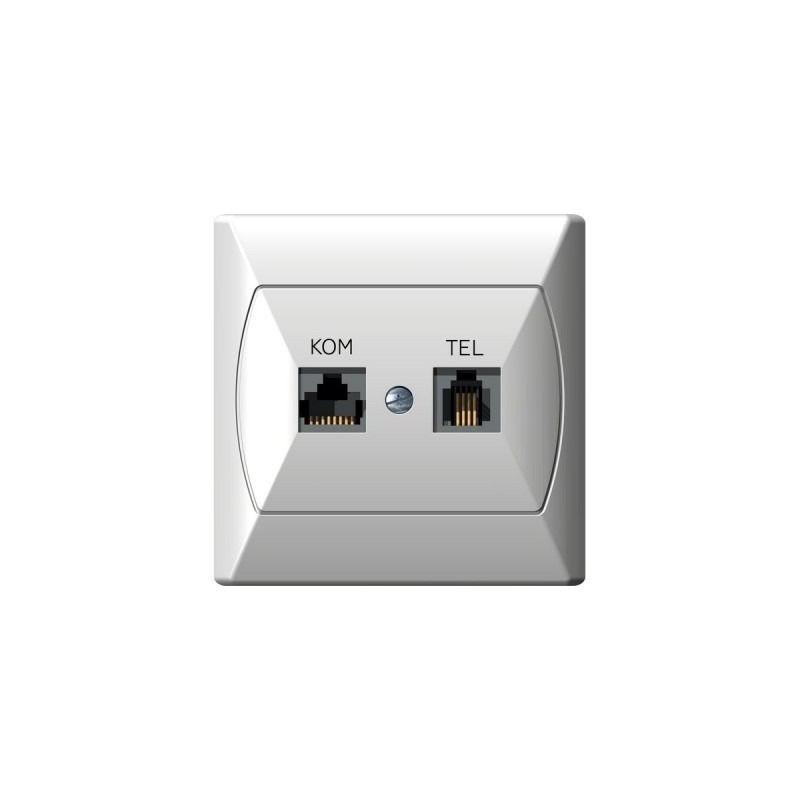 Gniazda-komputerowo-telefoniczne - gniazdo komputerowe rj45 i telefoniczne rj11 białe gpkt-a/k/00 akcent ospel firmy OSPEL