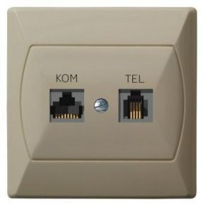 Gniazdo komputerowo-telefoniczne RJ45+RJ11 beżowe FOREX GPKT-A/F/01 AKCENT OSPEL