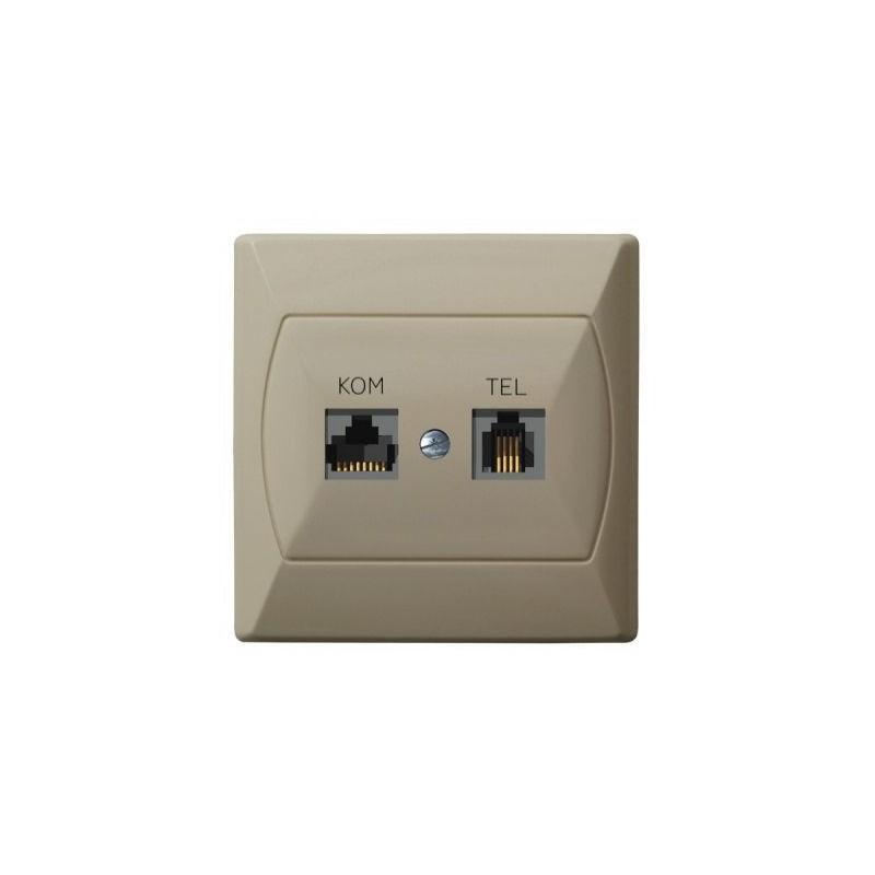 Gniazda-komputerowo-telefoniczne - gniazdo komputerowo-telefoniczne rj45+rj11 beżowe forex gpkt-a/f/01 akcent ospel firmy OSPEL