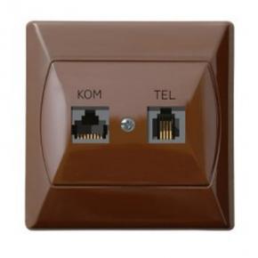Gniazda-komputerowo-telefoniczne - gniazdo komputerowo-telefoniczne rj45+rj11 brązowe gpkt-a/k/24 akcent ospel