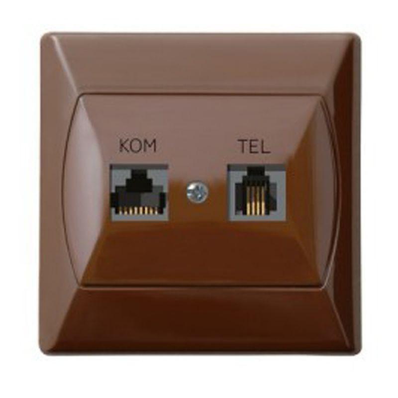 Gniazdo Komputerowo Telefoniczne Rj45 Rj11 Brązowe Gpkt A K 24 Akcent Ospel