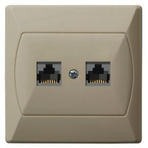 Gniazda-komputerowe - gniazdo komputerowe rj45 podwójne 5e beżowe gpk-2a/k/01 akcent ospel