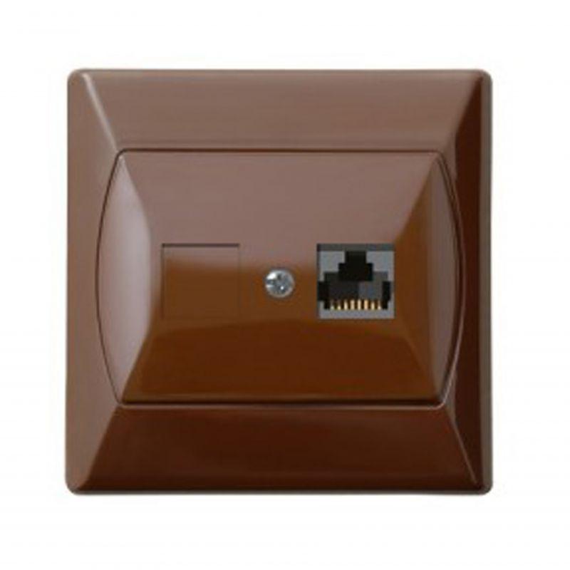 Gniazda-komputerowe - gniazdo komputerowe rj45 pojedyncze 5e brązowe gpk-1a/k/24 akcent ospel firmy OSPEL