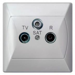 Gniazdo antenowe RTV-SAT końcowe białe GPA-AS/00 AKCENT OSPEL