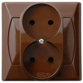 Gniazda-podwojne-podtynkowe - gniazdko elektryczne podwójne podtynkowe brązowe gp-2a/24 akcent ospel