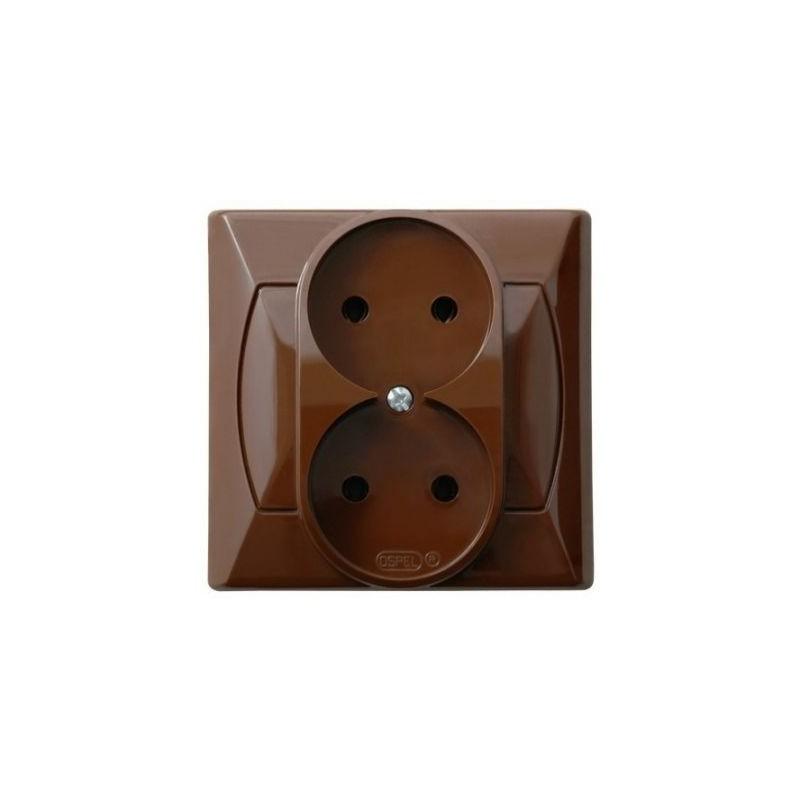 Gniazda-podwojne-podtynkowe - gniazdko elektryczne podwójne podtynkowe brązowe gp-2a/24 akcent ospel firmy OSPEL