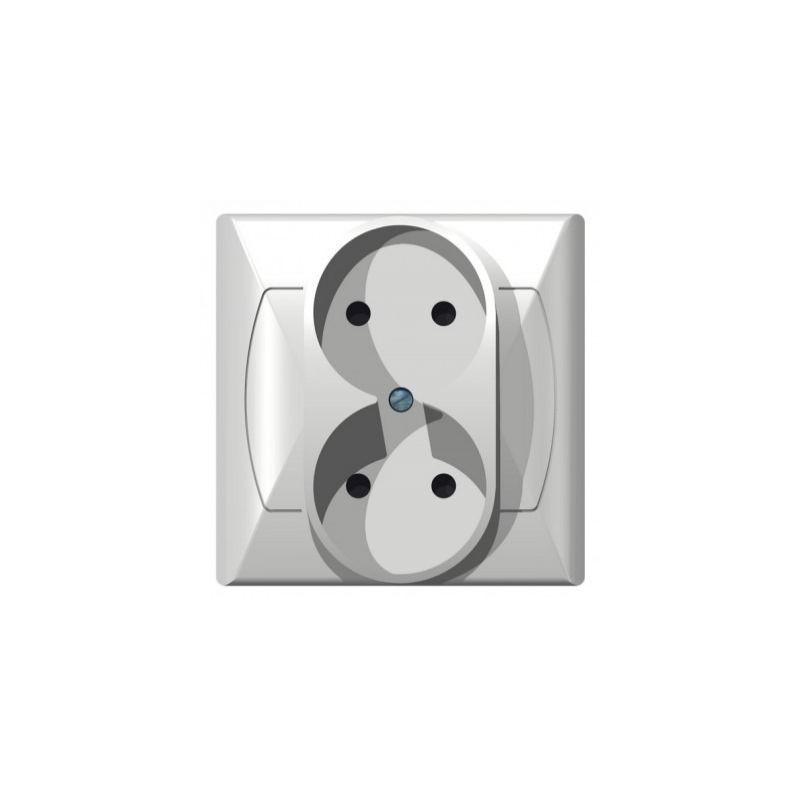 Gniazda-podwojne-podtynkowe - gniazdo podwójne podtynkowe bez uziemienia białe gp-2a/00 akcent ospel firmy OSPEL