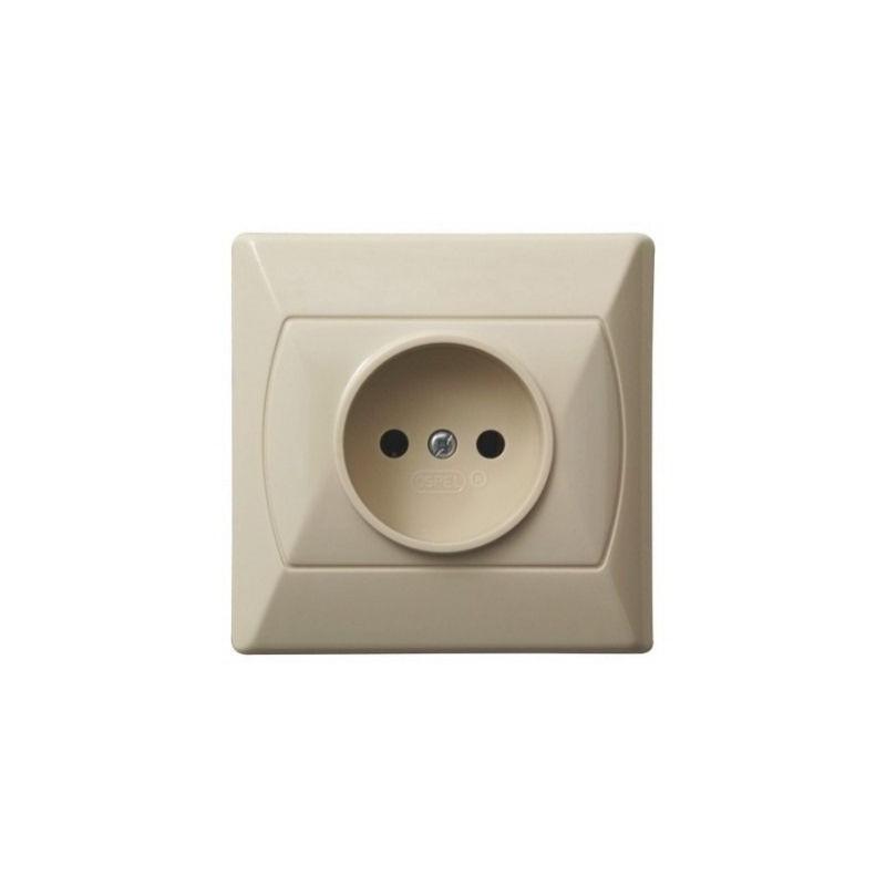 Gniazda-pojedyncze-podtynkowe - gniazdo elektryczne podtynkowe bez uziemienia beżowe gp-1a/01 akcent ospel firmy OSPEL