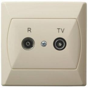 Gniazdo antenowe przelotowe RTV beżowe GPA-10AP AKCENT OSPEL