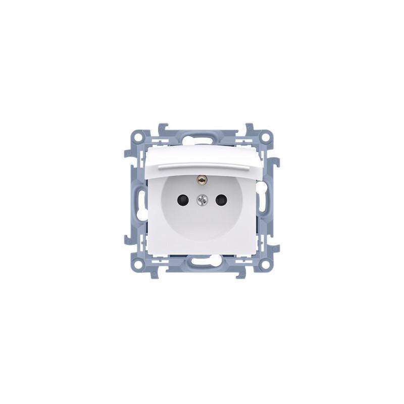 Gniazda-podtynkowe - gniazdo pojedyncze ip44 z białą klapką i przesłonami 16a cgz1bz.01/11 simon 10 kontakt-simon firmy Kontakt-Simon