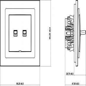 Wylaczniki-amerykanskie - podwójny włącznik w stylu amerykańskim srebrny metalik 7dwpus-2 deco karlik