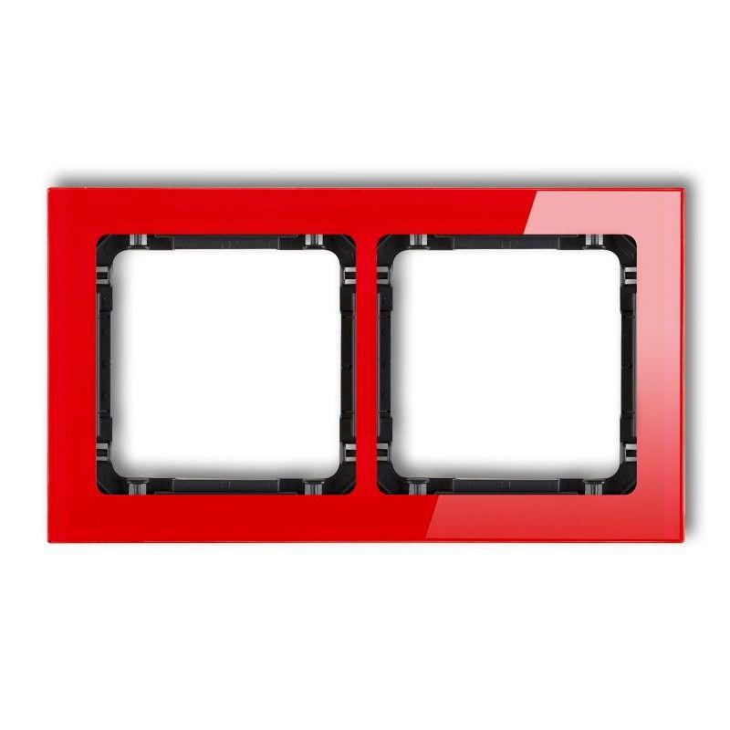 Ramki-podwojne - podwójna ramka czerwona/czarna efekt szkła 17-12-drs-2 deco karlik firmy Karlik
