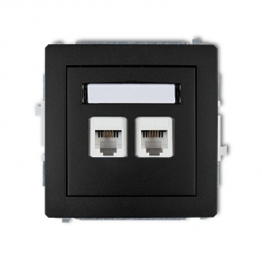 Gniazda-telefoniczne - podwójne gniazdo telefoniczne rj11 czarne matowe 12dgt-2 deco karlik