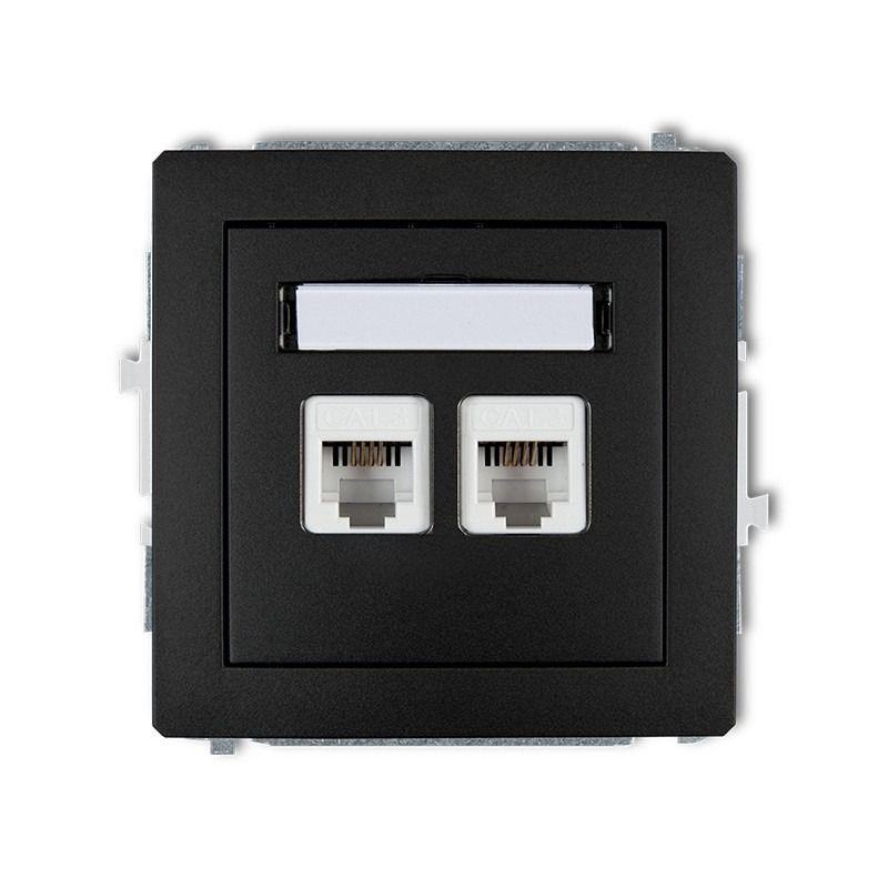 Gniazda-telefoniczne - podwójne gniazdo telefoniczne rj11 czarne matowe 12dgt-2 deco karlik firmy Karlik