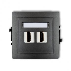 Grafitowe podwójne gniazdo HDMI 11DHDMI-2 DECO KARLIK