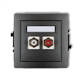 Podwójne grafitowe gniazdo RCA typu cinch białe czerwone pozłacane 11DGRCA-2 DECO KARLIK