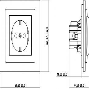 Gniazda-pojedyncze-podtynkowe - pojedyncze grafitowe gniazdo z uziemieniem schuko 11dgp-1s deco karlik