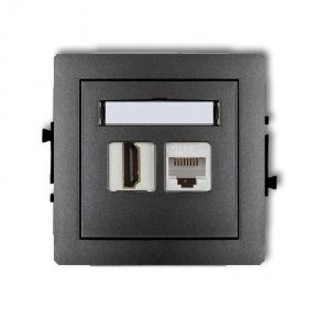 Grafitowe gniazdo HDMI+komputerowe RJ45 kat. 5e 11DGHK DECO KARLIK
