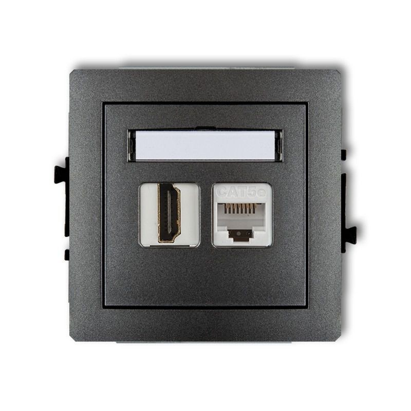 Gniazda-hdmi - grafitowe gniazdo hdmi+komputerowe rj45 kat. 5e 11dghk deco karlik firmy Karlik